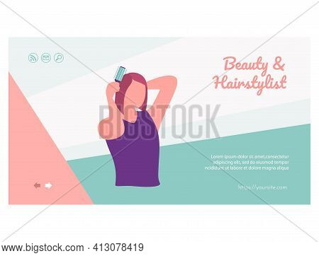 Beauty And Hairstylist Landing Page Template. Flat Vector Illustration