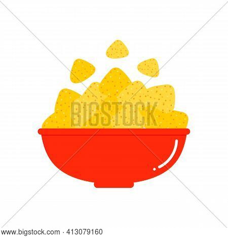 Traditional Mexican Snack Nacho Chips, Tortilla Chips In Big Red Bowl Cartoon Style Icon, Illustrati