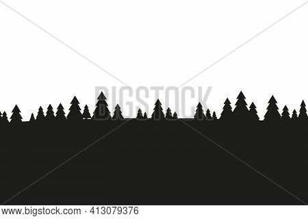 Horizontal Abstract Banners Of Coniferous Hills In Black Colors.