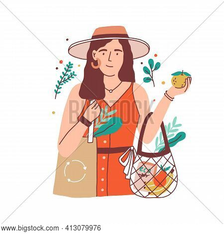 Woman Carrying Shopping Bag With Fruits And Organic Food. Eco Lifestyle Of Person With Healthy Habit