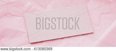 Business Card Flatlay On Pink Tissue Paper Background, Luxury Branding Flat Lay And Brand Identity D