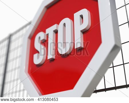 3d render STOP! You are Not Allowed Here, Red Octagonal Stop Roadsign with Big Hand Symbol for Prohibited Activities, Traffic Stop Blocking Sign, Prohibition Icon, No Entry Signal, Red Warning