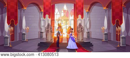 Prince And Princess In Throne Room At Castle Hall