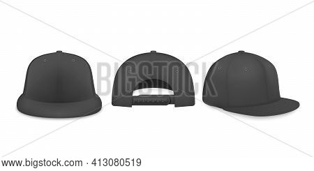 Vector 3d Realistic Black Blank Baseball Cap, Snapback Cap Icon Set Closeup Isolated On White Backgr