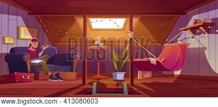 Woman Seats With Tablet On Couch On Attic