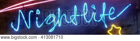 A neon light sign nightlife with star 3D illustration