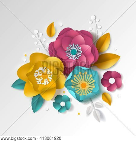 Realistic Paper Floral Composition With Color Flowers And Leaves On White Background 3d Vector Illus
