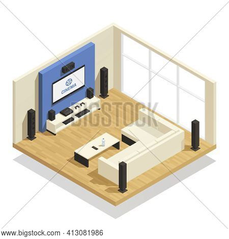 Living Room Interior With Modern Home Theater System Big Window And Comfortable Sofa Isometric 3d Ve
