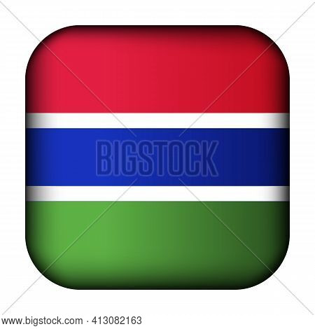 Glass Light Ball With Flag Of Gambia. Squared Template Icon. Gambian National Symbol. Glossy Realist