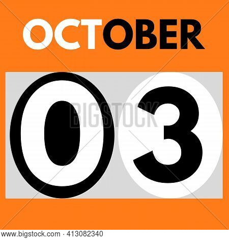 October 3 . Modern Daily Calendar Icon .date ,day, Month .calendar For The Month Of October