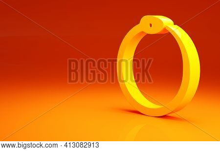 Yellow Magic Symbol Of Ouroboros Icon Isolated On Orange Background. Snake Biting Its Own Tail. Anim
