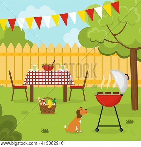 Barbecue Party In The Backyard With Fence, Trees, Bushes And Dog. Holliday Dinner In The Garden. Out