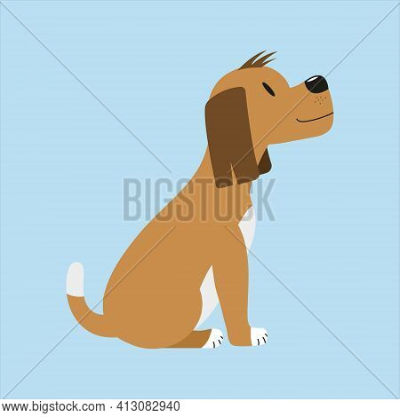 Cute Brown Sitting Dog Looking Up. Happy Dog. Isolated Flat Vector Illustration.