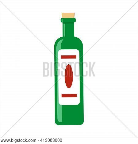 Green Glass Bottle Of Red Wine With Cork Top And White Label. Isolated Vector Illustration.