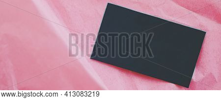 Black Business Card Flatlay On Pink Tissue Paper Background, Luxury Branding Flat Lay And Brand Iden