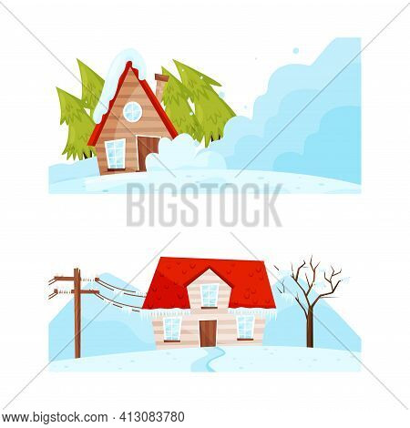House Suffering From Destructive Weather Condition And Natural Cataclysm With Blizzard And Snowslide