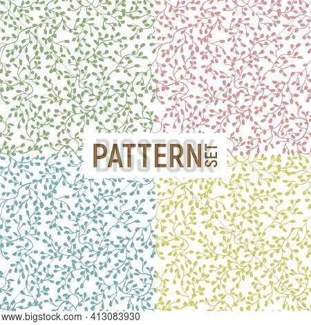 Set Of Plant-like Seamless Patterns With Intertwined Foliage On A White Background. Vector Illustrat