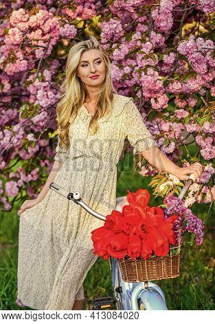 Spring Holidays. Tourism Concept. Transportation And Travel. Sakura Season. Flora And Botany. Woman