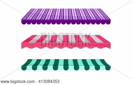 Striped Awning Or Overhang As Secondary Covering Of Fabric Vector Set