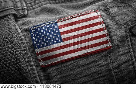 Tag On Dark Clothing In The Form Of The Flag Of The United States Of America