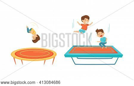 Excited Children Jumping On Trampoline Bouncing And Having Fun Vector Set