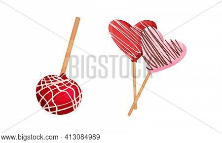 Sweet Candy And Sugary Lollipop As Saint Valentine Day Festive Attributes And Symbols Vector Set