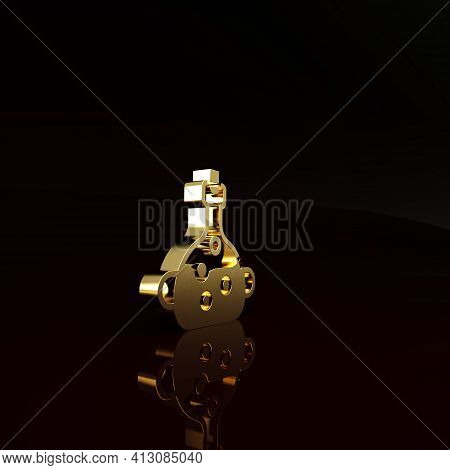 Gold Poison In Bottle Icon Isolated On Brown Background. Bottle Of Poison Or Poisonous Chemical Toxi