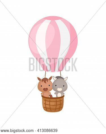 Cute Little Donkey, Horse Fly On Pink Hot Air Balloon. Cartoon Character For Childrens Book, Album,