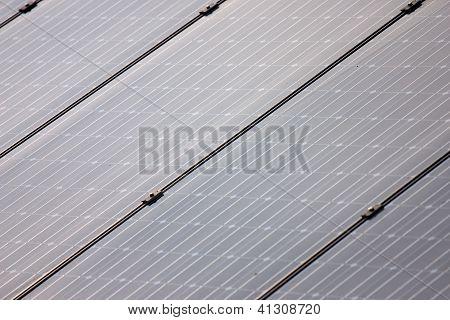 Solar photovoltaic panel array closeup