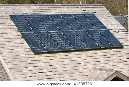 Solar photovoltaic panels on roof