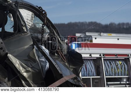 Wrecked Car After An Accident