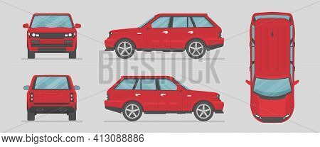 Vector Suv. Red Car From Different Sides. Side View, Front View, Back View, Top View. Cartoon Car In