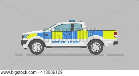 Vector Pickup Truck. English Police Car. Cartoon Flat Illustration, Auto For Graphic And Web Design.