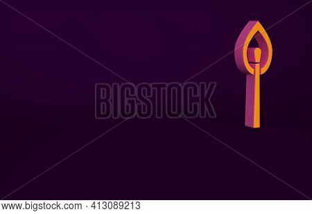 Orange Burning Match With Fire Icon Isolated On Purple Background. Match With Fire. Matches Sign. Mi