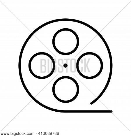 Monochrome Outline Film Reel Simple Icon Vector Linear Logo Of Antique Camera Strip Movie Production