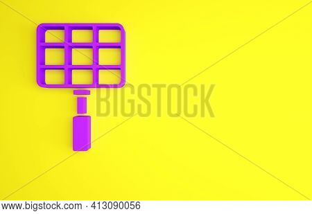 Purple Barbecue Steel Grid Icon Isolated On Yellow Background. Top View Of Bbq Grill. Wire Rack For