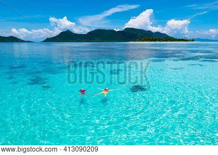 Kids Snorkel. Children Snorkeling In Tropical Sea.
