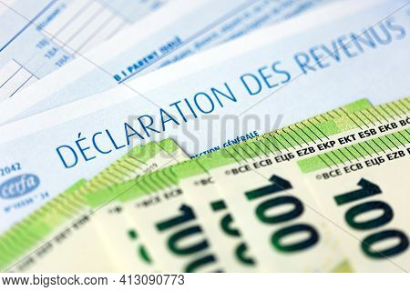 French Declaration Des Revenus 2020 Income Tax Paper Form And Euro Bills