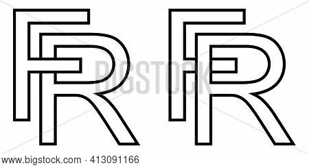 Logo Sign Fr And Rf Icon Sign Interlaced Letters R, F Vector Logo Rf, Fr First Capital Letters Patte