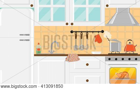 Cozy Kitchen With White Furniture, Glass Cupboard, Refrigerator And Food On Gas Stove And Inside The