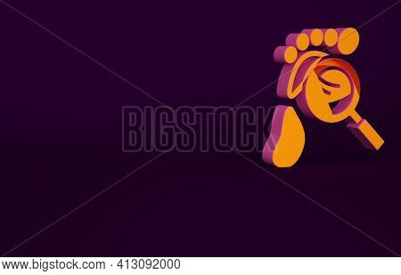 Orange Magnifying Glass With Footsteps Icon Isolated On Purple Background. Detective Is Investigatin