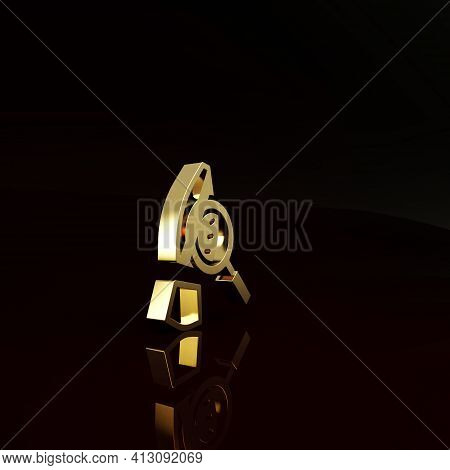 Gold Magnifying Glass With Footsteps Icon Isolated On Brown Background. Detective Is Investigating.