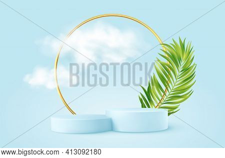 Realistic Blue Product Podium With Golden Round Arch, Plm Leaf And Clouds. Product Podium Scene Desi