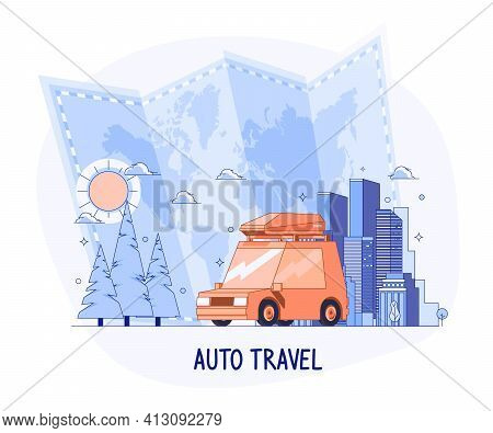 Planning Summer Vacations, World Travel By Car, Summer Holiday, Tourism And Vacation Theme. Family T