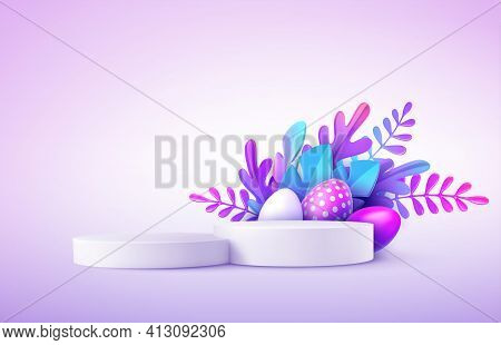 Realistic Product Podium With Easter Eggs And Fantastic Tropical Leaves. Product Podium Scene Easter