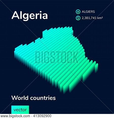 Stylized Neon Digital Isometric Striped Vector Algeria Map With 3d Effect. Map Of Algeria Is In Gree