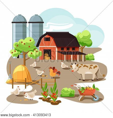 Farm In The Countryside. Red Barn, Mill. Wheat, Sheaf, Vegetable Garden, Cow, Chickens And Eggs. Vil