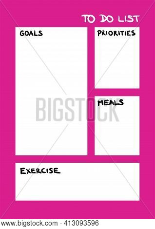 Weekly To Do List Goals, Priorities, Exercise