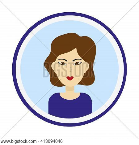Female Avatar. Cute Woman Portrait On Blue Background. Girl Face With Medium Length Curly Brown Hair