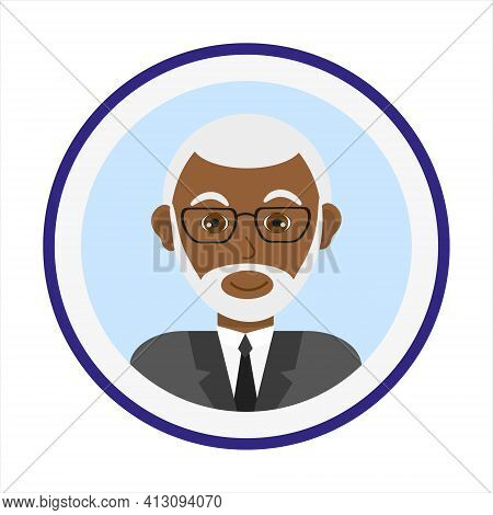 Smiling Man Face With Short White Hair, Beard And Mustache And Wearing Glasses. Male Face. Man Avata